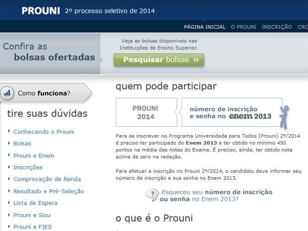 Site do Prouni já tem aberta a pesquisa das bolsas disponíveis (Foto: Reprodução/Inep)