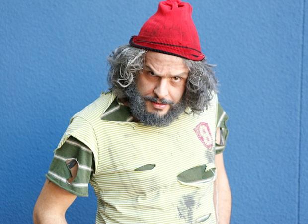 Bruno Romano mostra o seu personagem nos bastidores do Domingão (Foto: Ellen Soares/Gshow)
