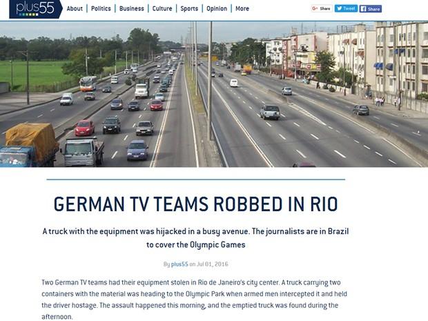 Sites de notícias repercutiram o roubo da TV alemã (Foto: Reprodução/Plus55.com)