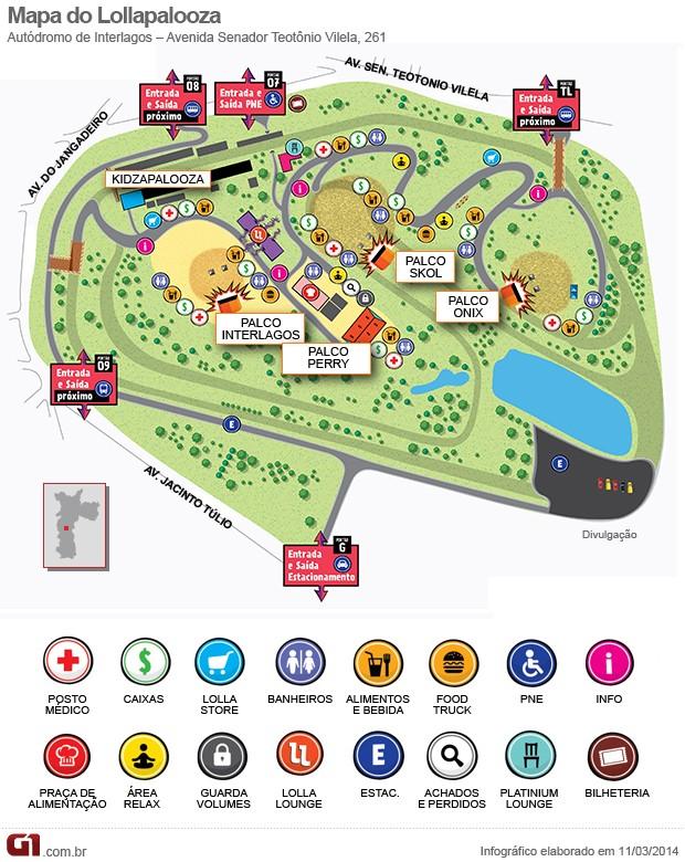 Mapa do festival Lollapalooza São Paulo (Foto: G1)