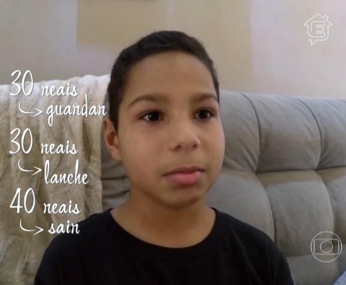 Gabriel, de 12 anos, dá exemplo de planejamento financeiro (Foto: TV Globo)