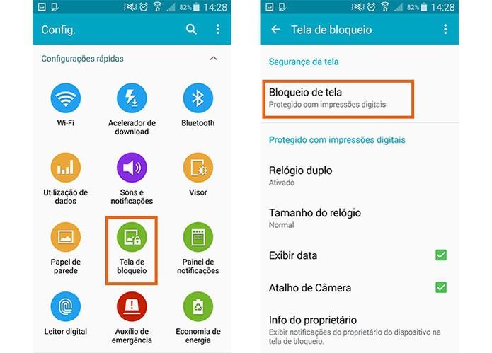 Encontre o item de tela de bloqueio no menu do Galaxy S5 (Foto: Reprodução/Barbara Mannara)