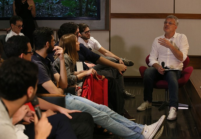 Pedro Bial foi mais um convidado superespecial no último dia de Globo Lab (Foto: Geane Carvalho / TV Globo)