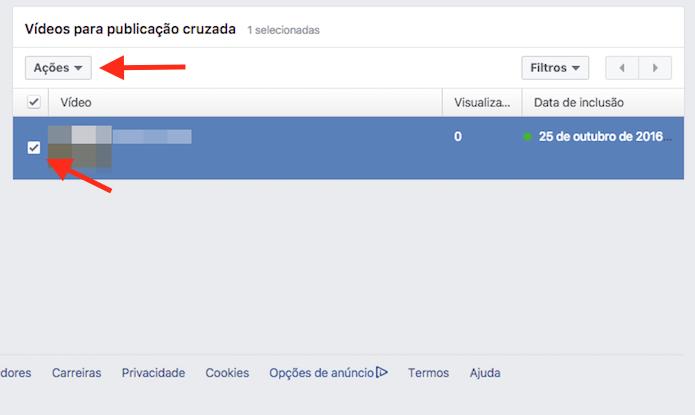 Opção para visualizar as ações para o vídeo de uma publicação cruzada entre páginas do Facebook (Foto: Reprodução/Marvin Costa)