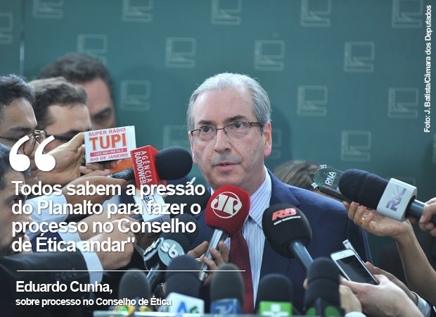 O presidente da Câmara, Eduardo Cunha, fala sobre processo no Conselho de Ética (Foto: J. Batista/Câmara dos Deputados)