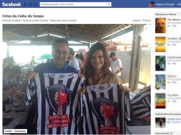 Atriz Mayana Neiva com prefeito Luciano Cartaxo em João Pessoa (Foto: Reprodução/Facebook)
