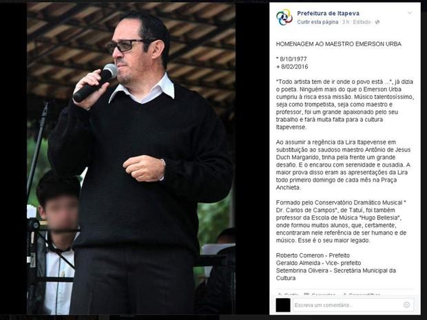 Prefeitura divulgou nota de pesar pela morte do maestro em rede social (Foto: Reprodução/ Facebook)