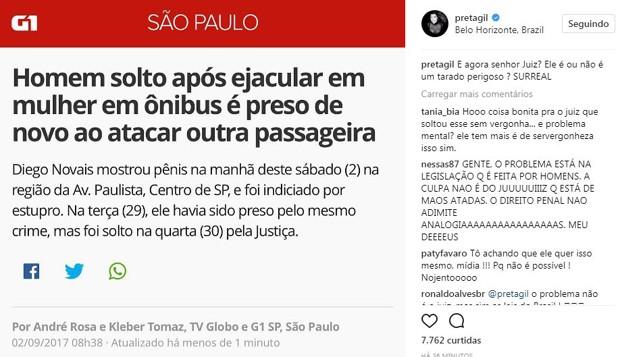 Post de Preta Gil (Foto: Reprodução/Instagram)