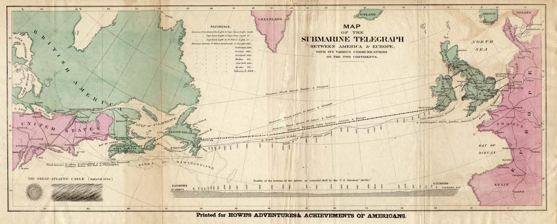 (Foto: Mapa dos Telégrafos Submarinos (Howe's Adventures & Achievements of Americans/ Reprodução))