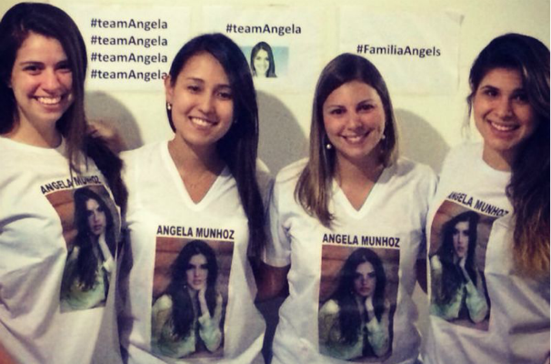 As amigas Andressa, Aline, Marina e Ana Carolina reuniram-se para torcer por Angela em São Paulo (Foto: Arquivo Pessoal)