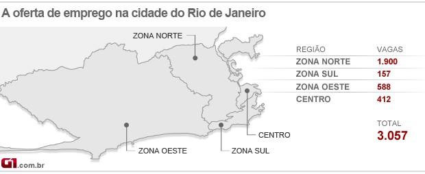 Mapa do emprego do Rio - 28/08/13 (Foto: Editoria de arte/G1)