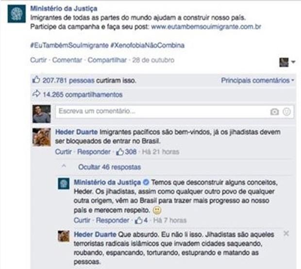 Mensagem do Ministério da Justiça defendendo imigração de jihadistas gera polêmica nas redes sociais (Foto: Reprodução / Facebook)