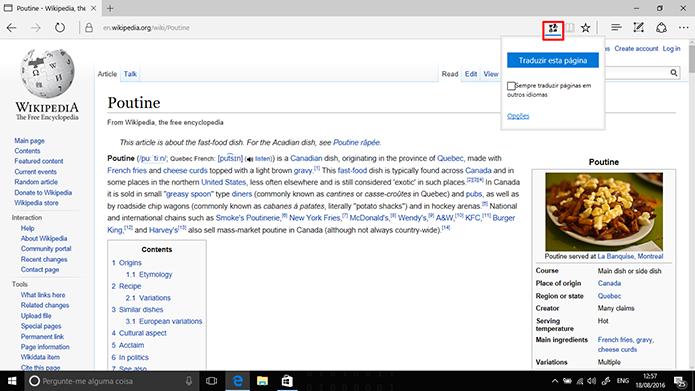 Translator para Microsoft Edge traduz páginas em outros idiomas (Foto: Reprodução/Elson de Souza)