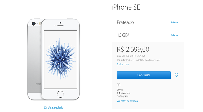 iPhone SE já está disponível na loja da Apple  (Foto: Reprodução/ Apple Store)