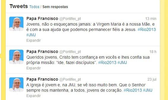 Mensagem no twitter do papa (Foto: Reprodução)