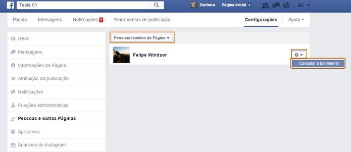 Cancele o banimento do usuário quando preferir na página do Facebook (Foto: Reprodução/Barbara Mannara)