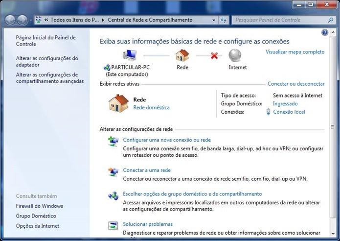Central de compartilhamento permite configurar várias opções relacionadas a rede do seu computador (Foto: Reprodução / Dario Coutinho)