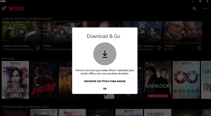 Netflix libera download de filmes e séries no computador com Windows 10 (Foto: Reprodução/Barbara Mannara)