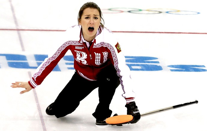 Anna Sidorova curling Rússia Sochi (Foto: Reuters)