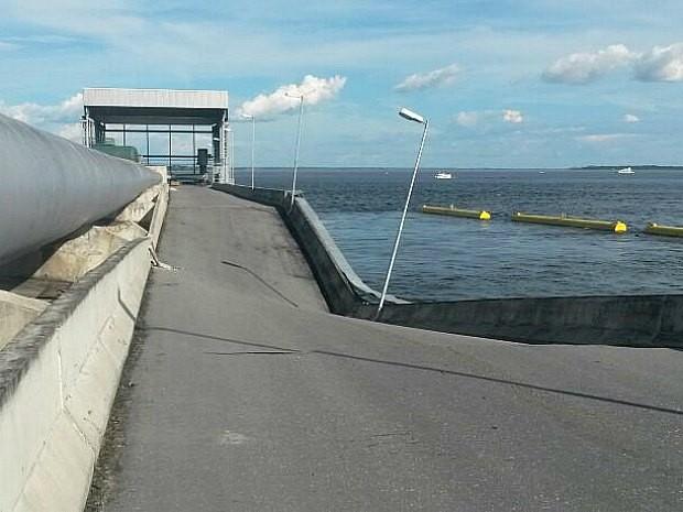 Estrutura da ponte que sustenta adutora do Proama ficou abalada  (Foto: Divulgação/Manaus Ambiental)