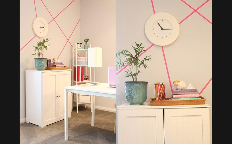 Arte de parede com fita adesiva inspire se com ideias fáceis dos blogs de decoraç u00e3o Casa GNT -> Decorar Parede Com Fita Adesiva