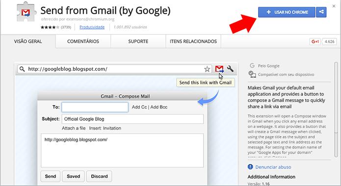 Baixe a extensão do Google que leva o Gmail para o Chrome (Foto: Reprodução/Paulo Alves)
