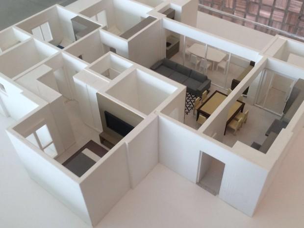 Impressão 3D ajuda a demonstrar plantas de imóveis em Goiânia, GO (Foto: Danielle Oliveira/G1)
