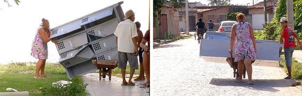 Mulher utilizou um carrinho de mão para roubar um armário da escola (Foto: Reprodução/ Inter TV Cabugi)