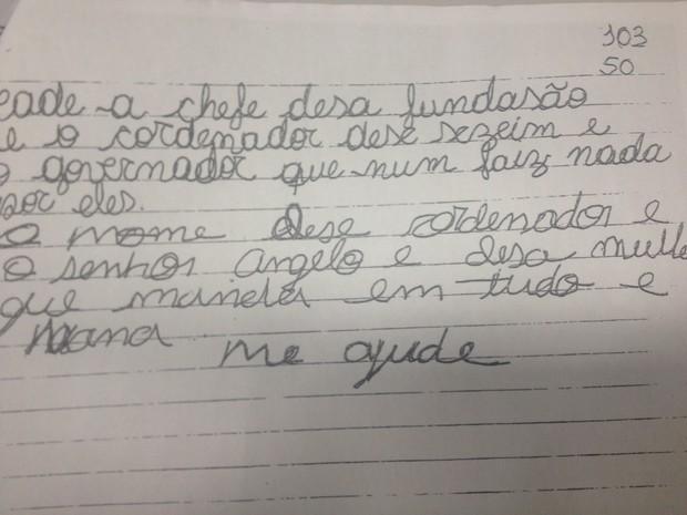 Carta foi escrita por uma mãe que prefiriu não se identificar (Foto: Dyepeson Martins/G1)