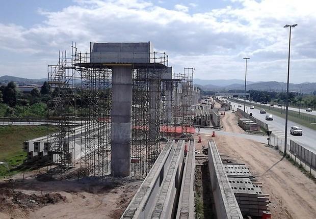 Construção da linha direta de trem da CPTM que vai ligar a Linha 13-Jade ao aeroporto Internacional de Guarulhos (Foto: Reprodução/YouTube)