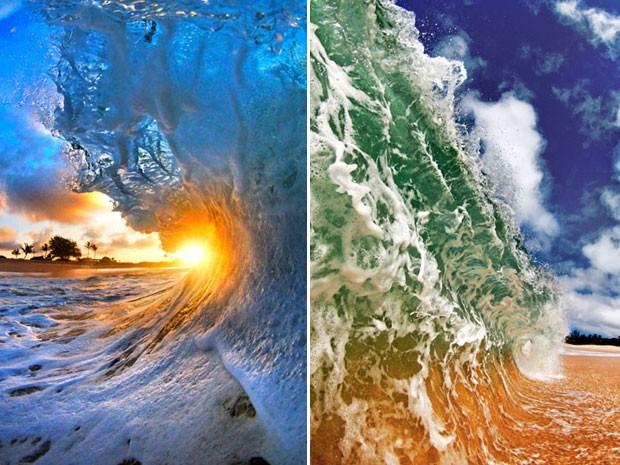 Os fotógrafos Nick Selway, de 28 anos, e CJ Kale, de 35, registraram as cores das ondas no Havaí (Foto: Caters)