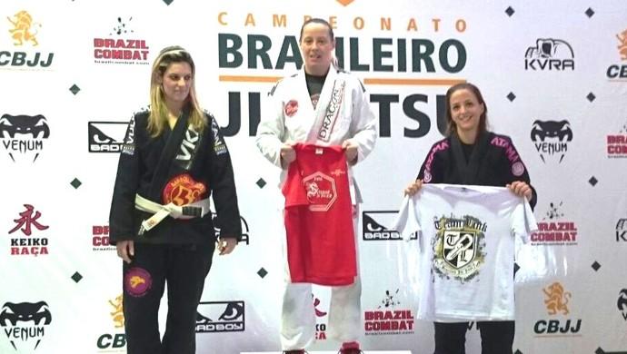 Lutadora de jiu-jtsu de Uberlândia, Raquel Temporal (direita) (Foto: Raquel Temporal / Arquivo pessoal)