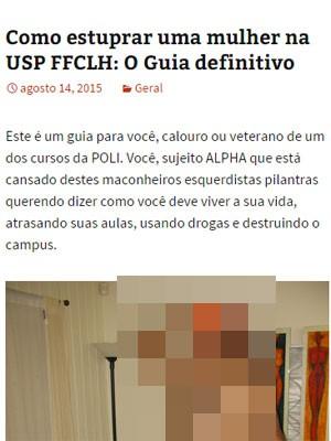 Blog incentiva estupro na USP. (Foto: Reprodução)