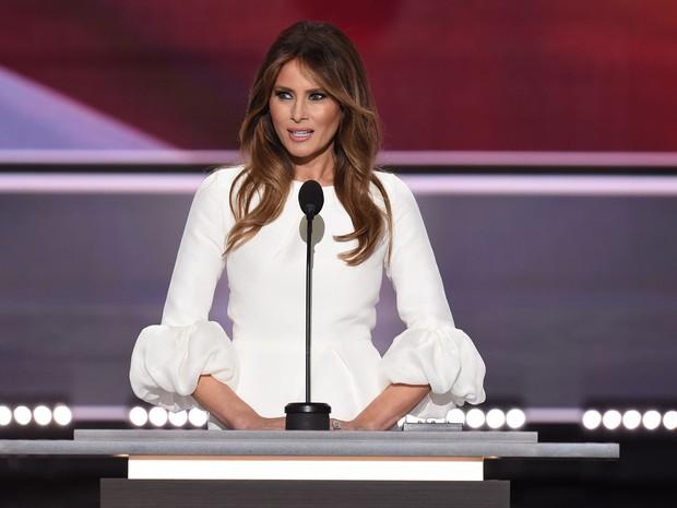 Melania Trump durante seu discurso no primeiro dia da Convenção Nacional Republicana, em Cleveland, Ohio, no dia 18 de julho (Foto: Robyn Beck/AFP)