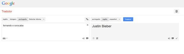 G1 No Google Tradutor, traduç u00e3o de Fernando e Sorocabaé Justin Bieber notícias em