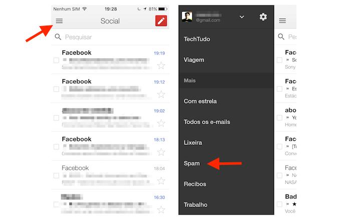 Acessando a caixa de mensagens marcadas como spam no Gmail para iPhone (Foto: Reprodução/Marvin Costa)