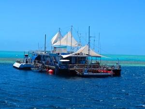 Plataforma com banheiros e equipamentos de mergulho serve de base para turistas que vão visitar a área (Foto: Flávia Mantovani/G1)