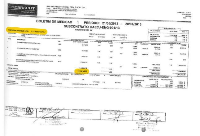 Pagamento da Odebrecht para a empresa do sobrinho de Lula (Foto: Reprodu??o)