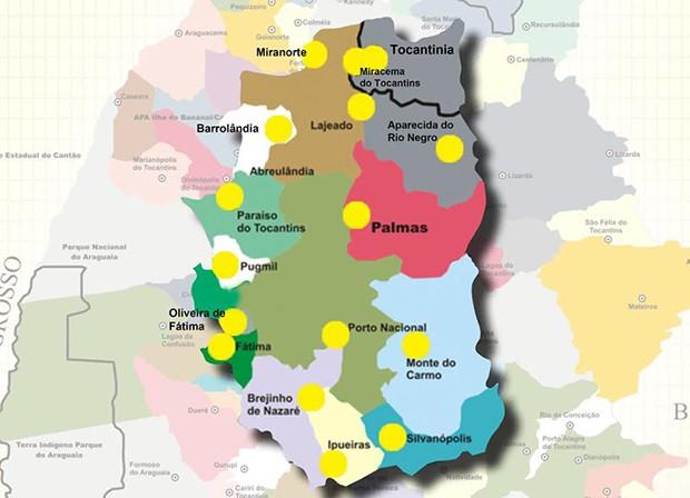 Região metropolitana de Palmas abrange 16 municípios (Foto: Reprodução/Mapa)