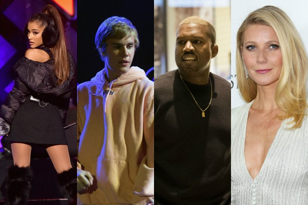 Ariana Grande, Justin Bieber, Kanye West e Gwyneth Paltrow (Foto: Getty Images)