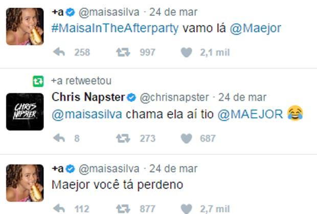 Maisa Silva interage com Maejor para tentar convite para after party de Justin Bieber (Foto: Reprodução/Twitter)