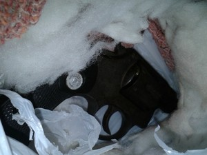 Arma foi jogada dentro da casa do policial aposentado pela janela  (Foto: Francisco Rocha/G1)