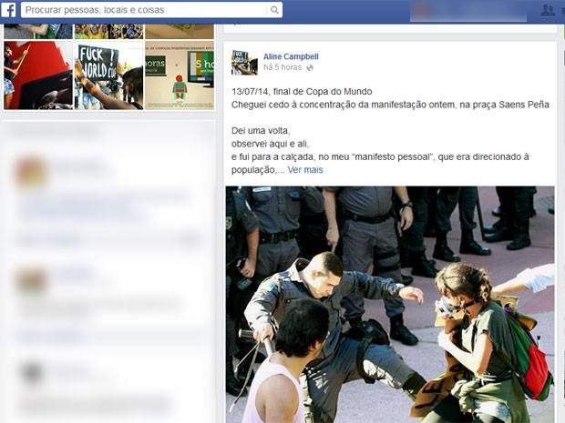 Aline foi agredida por um policial militar durante ato na Tijuca no domingo (Foto: Reprodução / Facebook)