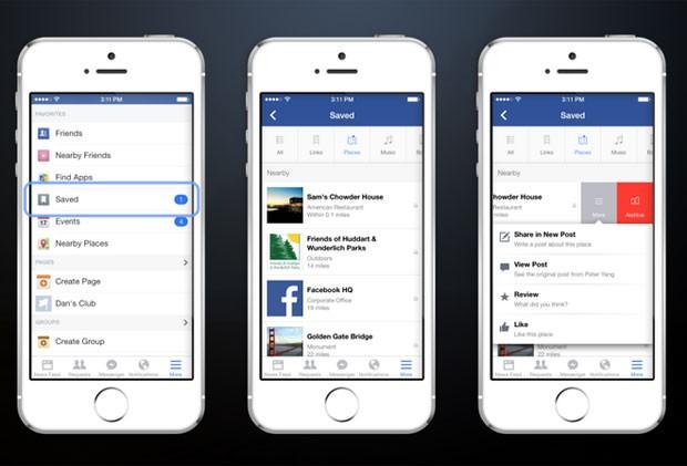 Novo botão nos aplicativos do Facebook permitirão salvar conteúdo para ler ou acessar depois (Foto: Divulgação/Facebook)
