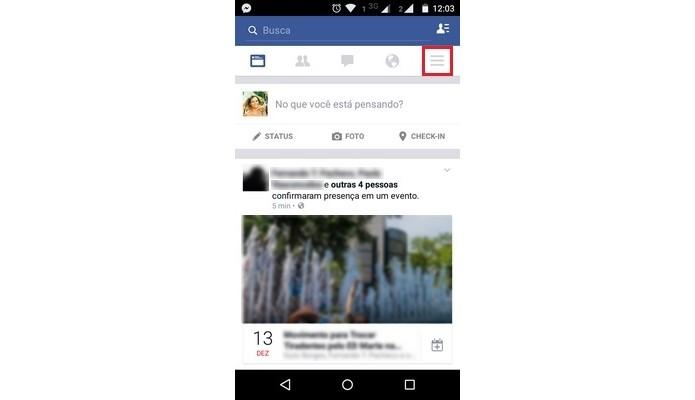 Destaque para menu principal do app móvel do Facebook (Foto: Reprodução/Raquel Freire)