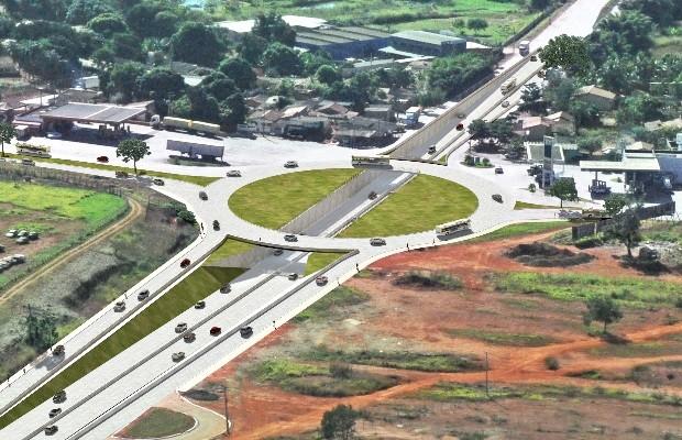 Projeto do viaduto no cruzamento da GO-080 com a Avenida Perimetral Norte em Goiânia, Goiás (Foto: Divulgação/ Agetop)