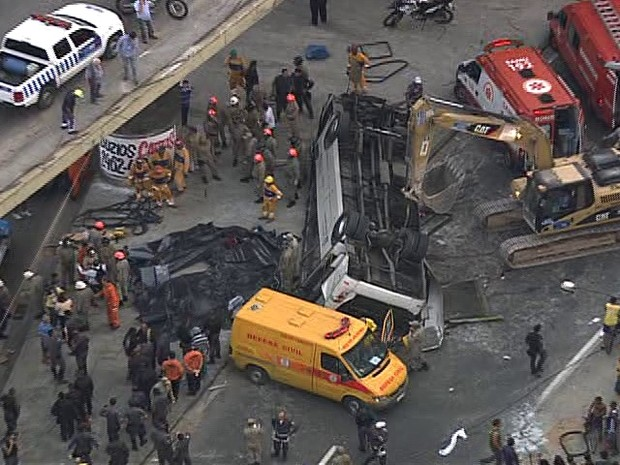 7 mortos em queda de um ônibus na Av. Brasil  (Foto: Reprodução Globo News)