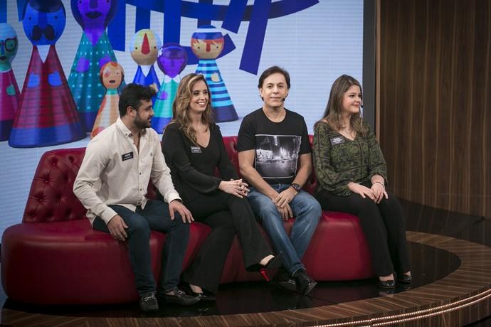 Tom Cavalcante com a família no programa (Foto: Isabella Pinheiro/Gshow)