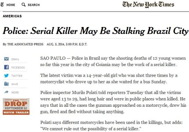 Jornal New York Times destaca série de assassinatos em Goiânia, Goiás (Foto: Reprodução)