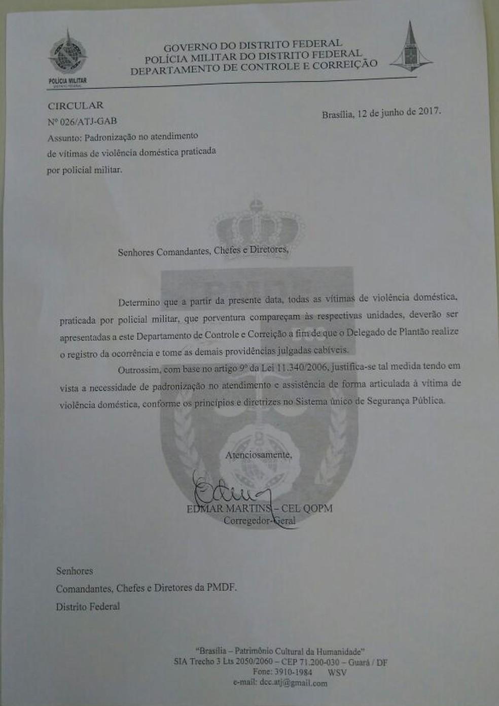 Documento da PMDF é do dia 12 de junho (Foto: Reprodução)